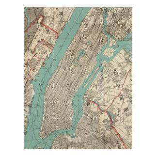 Mapa del vintage de New York City (1890) Tarjetas Postales