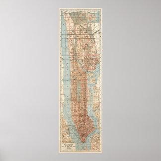 Mapa del vintage de New York City (1894) Póster