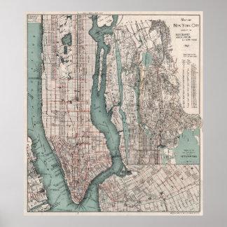 Mapa del vintage de New York City (1897) Póster
