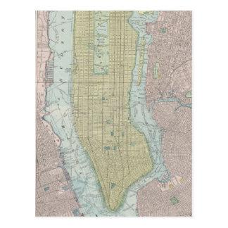 Mapa del vintage de New York City (1901) Tarjetas Postales