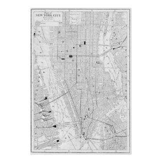 Mapa del vintage de New York City (1911) Poster