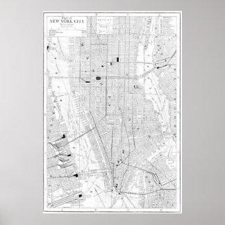 Mapa del vintage de New York City (1911) Póster