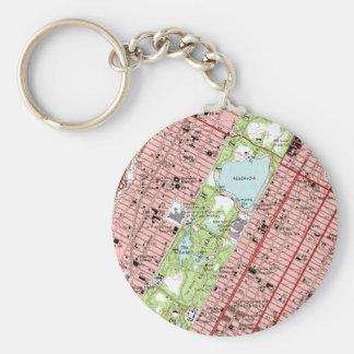 Mapa del vintage de New York City del Central Park Llavero Redondo Tipo Pin