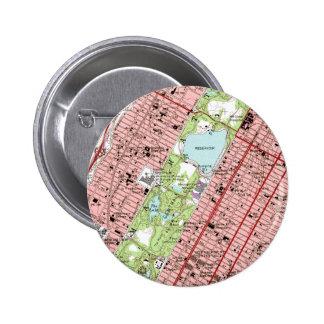 Mapa del vintage de New York City del Central Park Pin Redondo De 2 Pulgadas