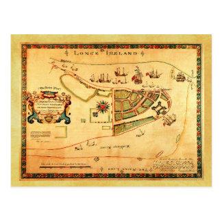Mapa del vintage de New York City (entonces New Tarjeta Postal