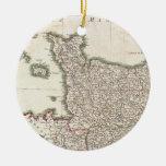 Mapa del vintage de Normandía (1771) Ornamentos De Navidad