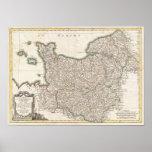 Mapa del vintage de Normandía (1771) Posters