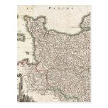 Mapa del vintage de Normandía (1771) Tarjeta Postal