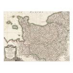 Mapa del vintage de Normandía (1771) Tarjetas Postales