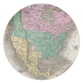 Mapa del vintage de Norteamérica (1827) Plato Para Fiesta