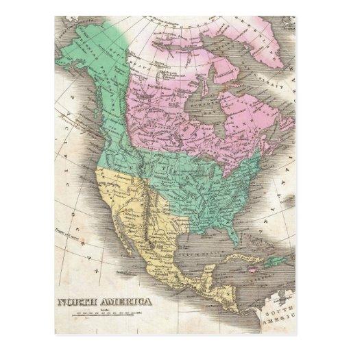 Mapa del vintage de Norteamérica (1827) Postal