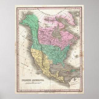 Mapa del vintage de Norteamérica (1827) Póster