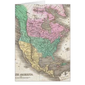Mapa del vintage de Norteamérica (1827) Tarjeta De Felicitación