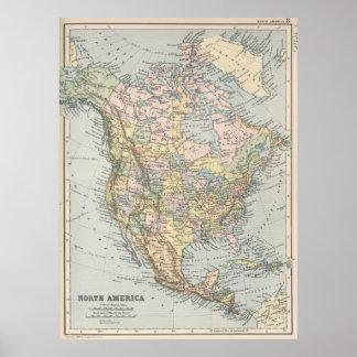 Mapa del vintage de Norteamérica (1892) Póster