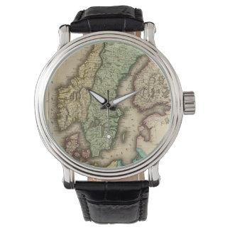 Mapa del vintage de Noruega y de Suecia (1831) Relojes De Mano
