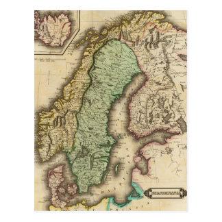 Mapa del vintage de Noruega y de Suecia (1831) Postal
