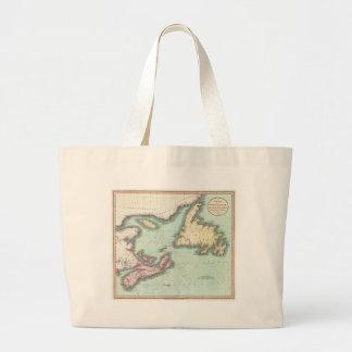 Mapa del vintage de Nueva Escocia y de Terranova ( Bolsa Tela Grande