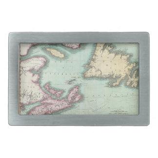 Mapa del vintage de Nueva Escocia y de Terranova ( Hebillas Cinturon Rectangulares