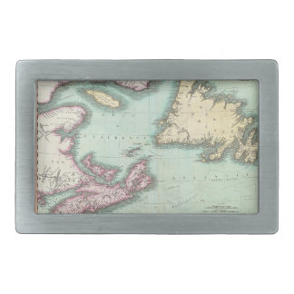 Mapa del vintage de Nueva Escocia y de Terranova ( Hebillas De Cinturon Rectangulares