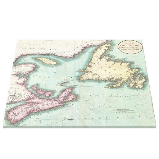 Mapa del vintage de Nueva Escocia y de Terranova ( Lona Estirada Galerias