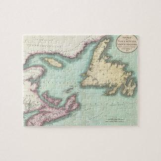 Mapa del vintage de Nueva Escocia y de Terranova ( Rompecabezas Con Fotos