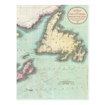 Mapa del vintage de Nueva Escocia y de Terranova ( Tarjetas Postales