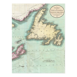 Mapa del vintage de Nueva Escocia y de Terranova Postales