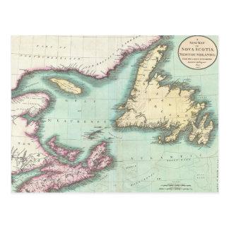 Mapa del vintage de Nueva Escocia y de Terranova Tarjeta Postal