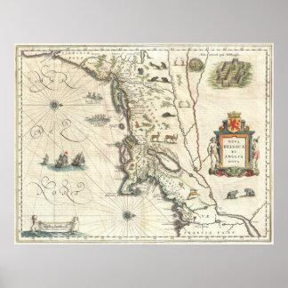 Mapa del vintage de Nueva Inglaterra (1635) Póster