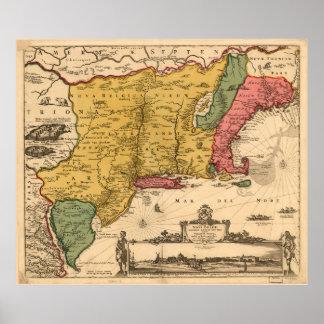 Mapa del vintage de Nueva Inglaterra (1685) Póster