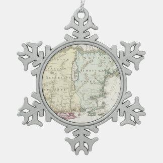 Mapa del vintage de Nueva Inglaterra (1716) Adorno De Peltre En Forma De Copo De Nieve