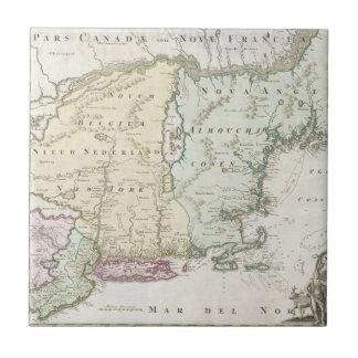 Mapa del vintage de Nueva Inglaterra (1716) Azulejo Cuadrado Pequeño
