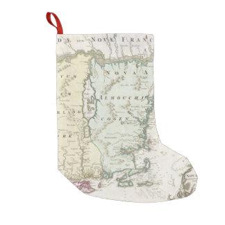 Mapa del vintage de Nueva Inglaterra (1716) Calcetín Navideño Pequeño