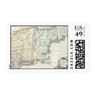 Mapa del vintage de Nueva Inglaterra (1716) Estampilla