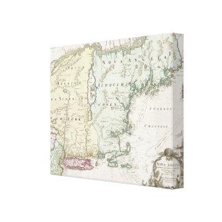 Mapa del vintage de Nueva Inglaterra (1716) Impresiones En Lona Estiradas