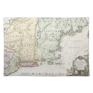 Mapa del vintage de Nueva Inglaterra (1716) Mantel