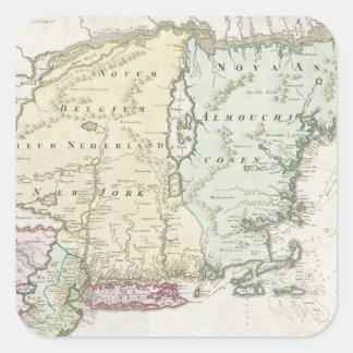 Mapa del vintage de Nueva Inglaterra (1716) Calcomanías Cuadradases