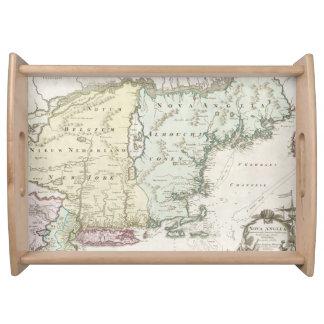 Mapa del vintage de Nueva Inglaterra 1716 Bandeja