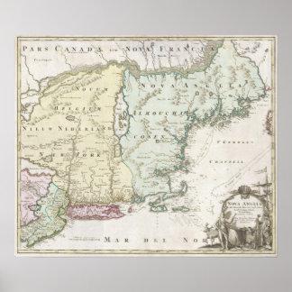 Mapa del vintage de Nueva Inglaterra (1716) Póster