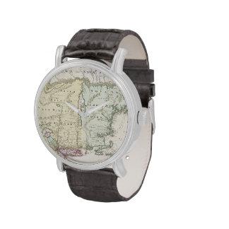 Mapa del vintage de Nueva Inglaterra 1716 Relojes