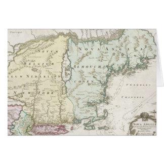 Mapa del vintage de Nueva Inglaterra (1716) Tarjeta