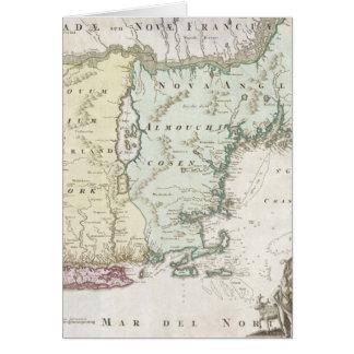 Mapa del vintage de Nueva Inglaterra (1716) Tarjeta De Felicitación