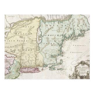 Mapa del vintage de Nueva Inglaterra 1716 Tarjeta Postal