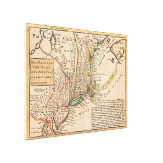 Mapa del vintage de Nueva Inglaterra (1729) Impresiones En Lona Estiradas