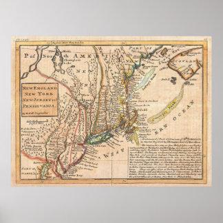 Mapa del vintage de Nueva Inglaterra (1729) Póster