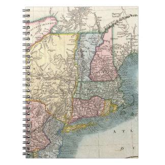 Mapa del vintage de Nueva Inglaterra (1821) Libros De Apuntes Con Espiral