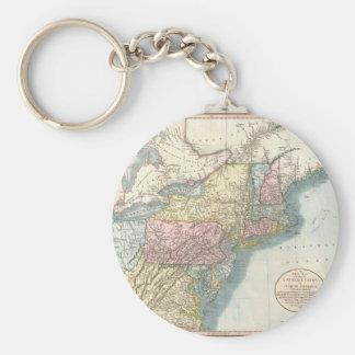 Mapa del vintage de Nueva Inglaterra (1821) Llavero Redondo Tipo Pin