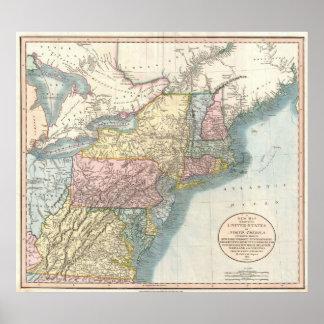Mapa del vintage de Nueva Inglaterra (1821) Póster