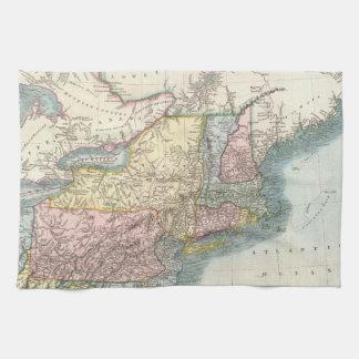 Mapa del vintage de Nueva Inglaterra (1821) Toalla De Cocina