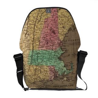 Mapa del vintage de Nueva Inglaterra (1836) Bolsas Messenger